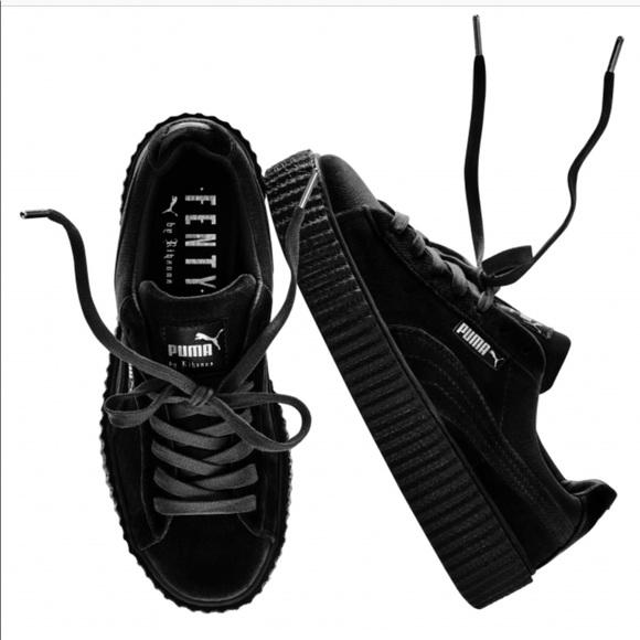 Fenty Puma by Rihanna Black Velvet Creepers Shoes